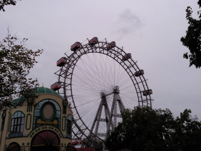 an amusment park that was open but pretty much deserted on a cold cloudy day, we all agreed it was spooky and macabre